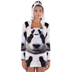 Panda Face Long Sleeve Hooded T Shirt