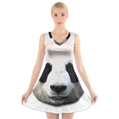 Panda Face V Neck Sleeveless Skater Dress