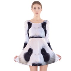 Panda Face Long Sleeve Velvet Skater Dress