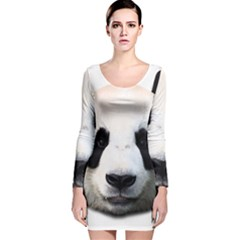 Panda Face Long Sleeve Velvet Bodycon Dress