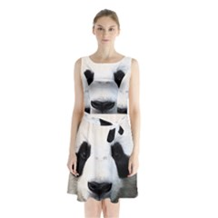 Panda Face Sleeveless Waist Tie Chiffon Dress