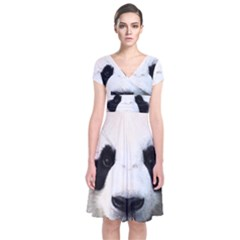 Panda Face Short Sleeve Front Wrap Dress