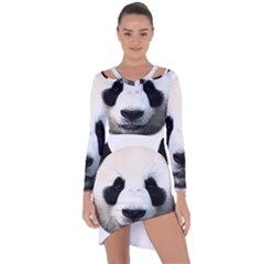 Panda Face Asymmetric Cut Out Shift Dress