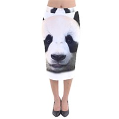 Panda Face Velvet Midi Pencil Skirt