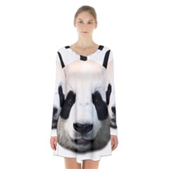 Panda Face Long Sleeve Velvet V Neck Dress