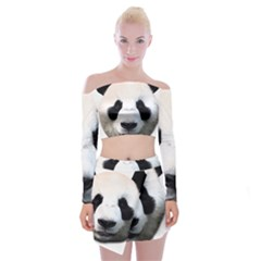 Panda Face Off Shoulder Top With Skirt Set