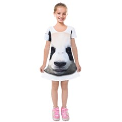 Panda Face Kids  Short Sleeve Velvet Dress