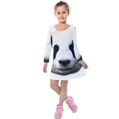 Panda Face Kids  Long Sleeve Velvet Dress