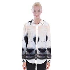 Panda Face Womens Long Sleeve Shirt