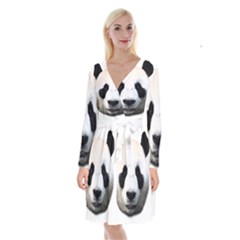 Panda Face Long Sleeve Velvet Front Wrap Dress
