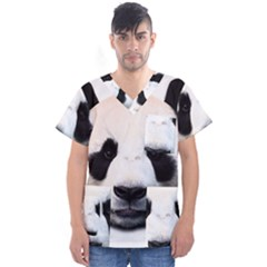 Panda Face Men s V Neck Scrub Top
