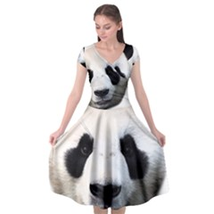 Panda Face Cap Sleeve Wrap Front Dress