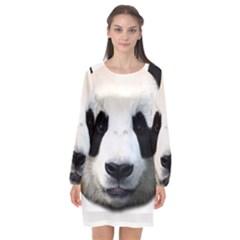 Panda Face Long Sleeve Chiffon Shift Dress