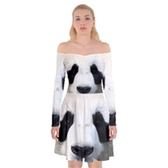 Panda Face Off Shoulder Skater Dress