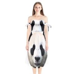 Panda Face Shoulder Tie Bardot Midi Dress