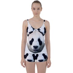 Panda Face Tie Front Two Piece Tankini