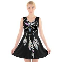 Dreamcatcher  V Neck Sleeveless Skater Dress