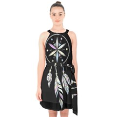 Dreamcatcher  Halter Collar Waist Tie Chiffon Dress
