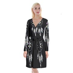 Dreamcatcher  Long Sleeve Velvet Front Wrap Dress