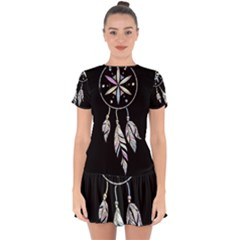 Dreamcatcher  Drop Hem Mini Chiffon Dress