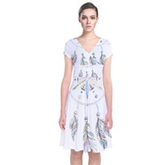 Dreamcatcher  Short Sleeve Front Wrap Dress