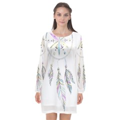 Dreamcatcher  Long Sleeve Chiffon Shift Dress