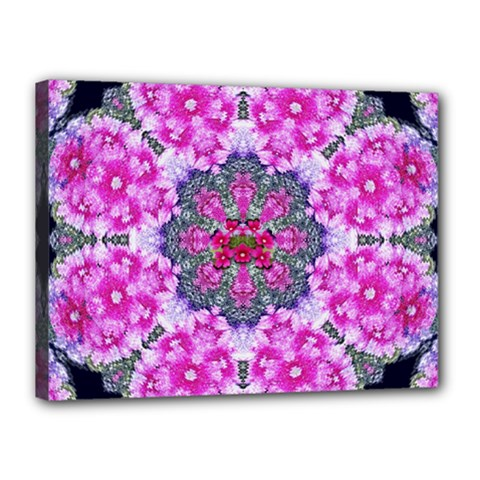 Fantasy Cherry Flower Mandala Pop Art Canvas 16  X 12
