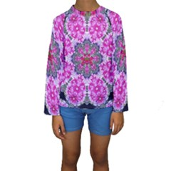 Fantasy Cherry Flower Mandala Pop Art Kids  Long Sleeve Swimwear