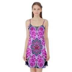 Fantasy Cherry Flower Mandala Pop Art Satin Night Slip