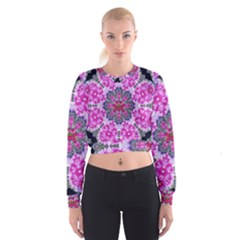 Fantasy Cherry Flower Mandala Pop Art Cropped Sweatshirt