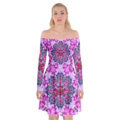 Fantasy Cherry Flower Mandala Pop Art Off Shoulder Skater Dress