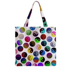 Multi Ying Yang Zipper Grocery Tote Bag