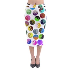 Multi Ying Yang Midi Pencil Skirt