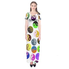 Multi Ying Yang Short Sleeve Maxi Dress