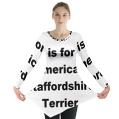 A Is For American Staffordshire Terrier Long Sleeve Tunic