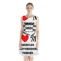 American Staffordsdhire Terrier Love Sleeveless Waist Tie Chiffon Dress