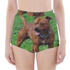 4 Full Staffordshire Bull Terrier High Waisted Bikini Bottoms
