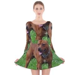 4 Full Staffordshire Bull Terrier Long Sleeve Velvet Skater Dress