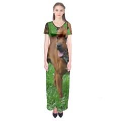 4 Full Staffordshire Bull Terrier Short Sleeve Maxi Dress