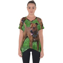 4 Full Staffordshire Bull Terrier Cut Out Side Drop Tee