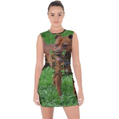 4 Full Staffordshire Bull Terrier Lace Up Front Bodycon Dress