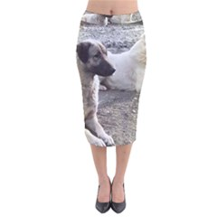 2 Anatolians Velvet Midi Pencil Skirt