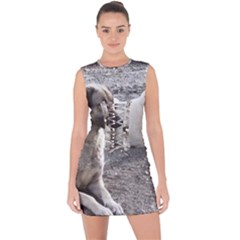 2 Anatolians Lace Up Front Bodycon Dress