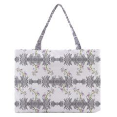 Floral Collage Pattern Zipper Medium Tote Bag