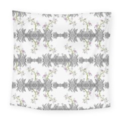 Floral Collage Pattern Square Tapestry (large)