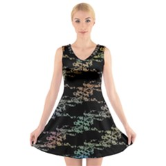 Birds With Nest Rainbow V Neck Sleeveless Skater Dress