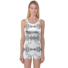 Floral Collage Pattern One Piece Boyleg Swimsuit