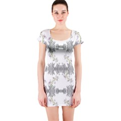 Floral Collage Pattern Short Sleeve Bodycon Dress