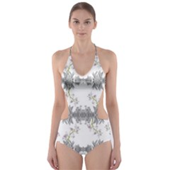 Floral Collage Pattern Cut Out One Piece Swimsuit