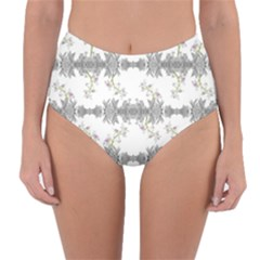 Floral Collage Pattern Reversible High Waist Bikini Bottoms